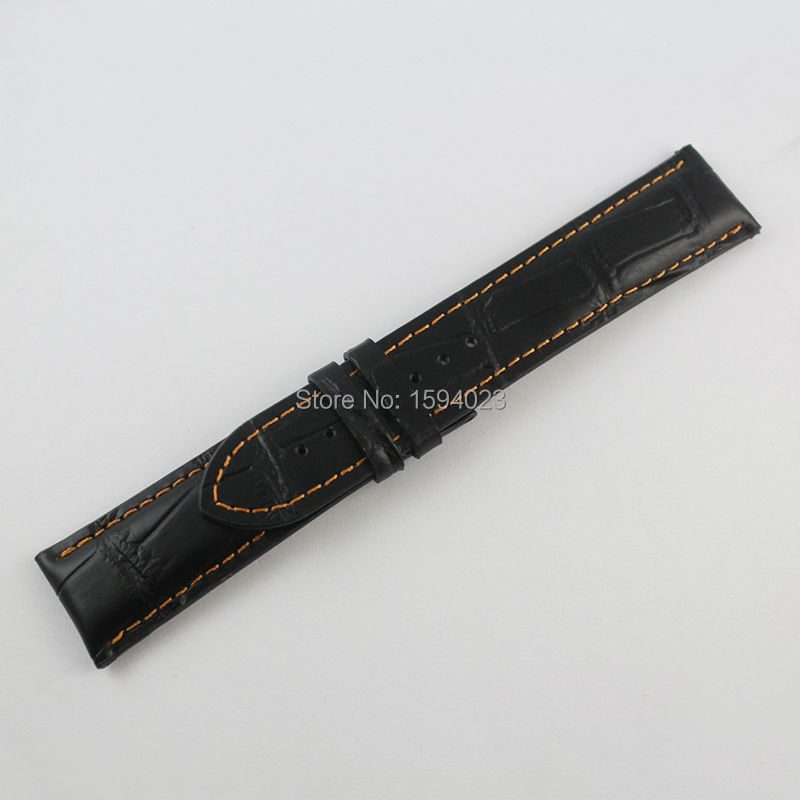 22mm M005 Crocodile Alligator Grain Leather Watchband Watch Strap Male money Black orange line Genuine Leather Watch Bands Strap все цены
