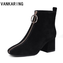 VANKARING autumn winter women boots brand shoes woman suede leather ankle boots black gray zipper high heels ladies riding boots vankaring punk rivets fashion ankle boots square heel autumn winter boots women genuine leather fretwork ladies red riding boots