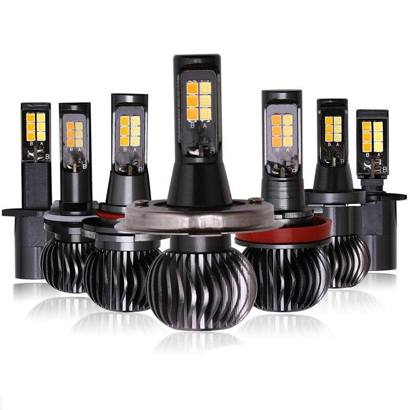 Newest CAR Front Fog Light Bulbs Dual Color LED DRL Lights 20W H11 H3 H4 H7