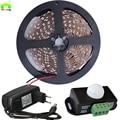 5M 2835 LED Strip PIR Light 12V Sensor Switch Night Bedroom infrared motion sensor detector Diode tape with 2A Power Adapter