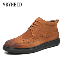 VRYHEID 2019 Autumn and winter New Men Boots Vintage Brogue College Style Men Shoes Casual Fashion Lace-up Warm Boots For Man