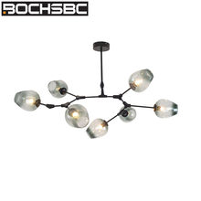 BOCHSBC Modern Magic Bean Glass Lampshade Pendant Lights Fixtures Gold/Black Branch Hanging Lamp for Living Room Dinning Room(China)
