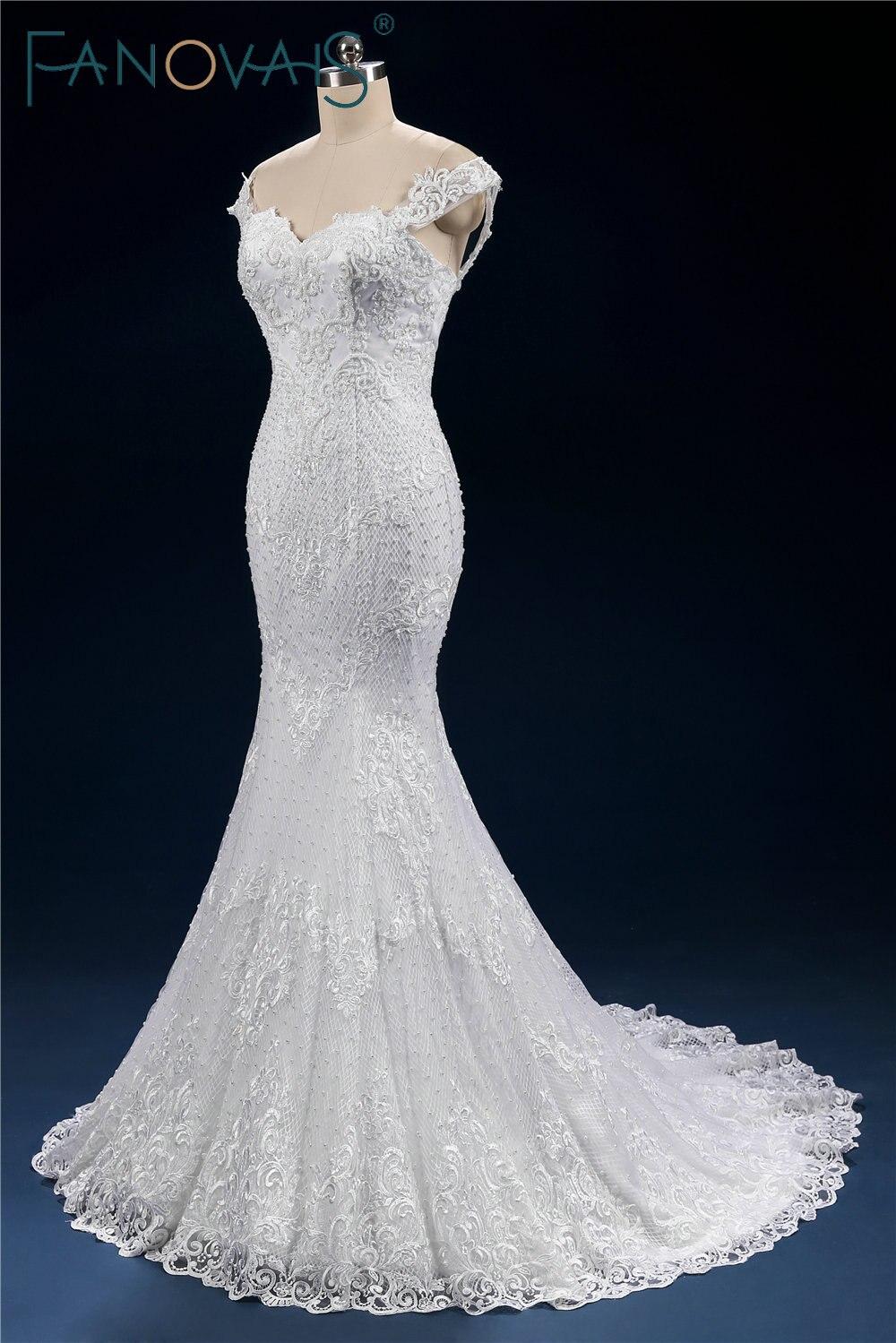 Luxury Full Beads Pearl Wedding Dress Mermaid Lace up Off Shoulder ...