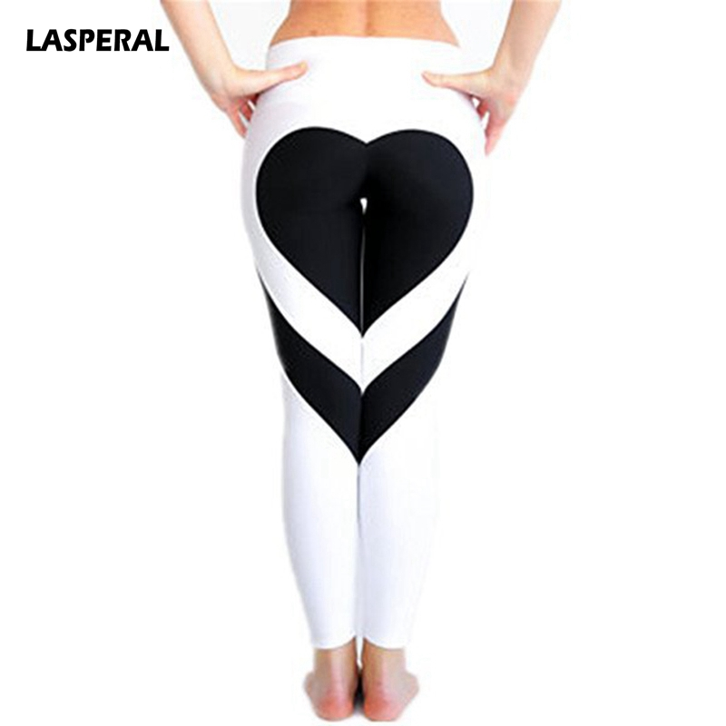 LASPERAL Fitness Womens Running Pant Heart Pattern Elastic Quick Dry Athleisure Trouser Gym Elastic Sports Legging Plus Size