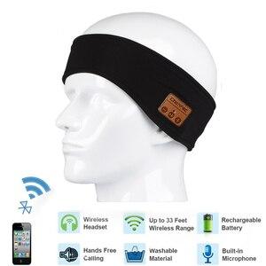 Image 1 - רך Bluetooth סרט כובע סטריאו אוזניות מוסיקה אוזניות שינה אוזניות כובע ספורט בגימור עם מיקרופון תשובה שיחה עבור iPhone