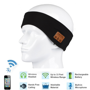 Image 1 - soft Bluetooth Headband cap Stereo Headphones Music Earphones Sleep Headset hat Sports Headband with Mic Answer Call for iPhone