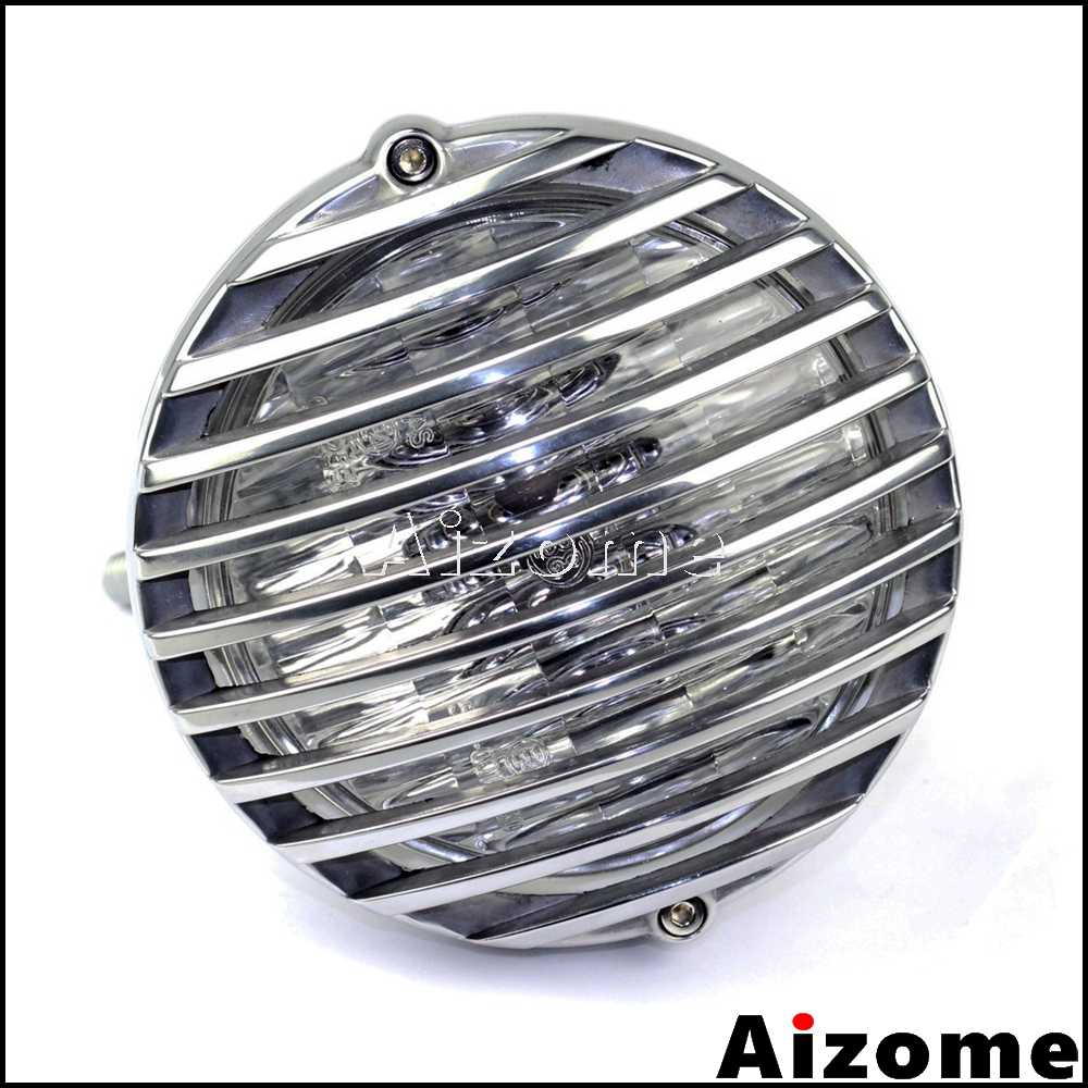 Motorcycle Scalloped Finned Grill Headlight For Harley Bobber Sportster XS650 XL