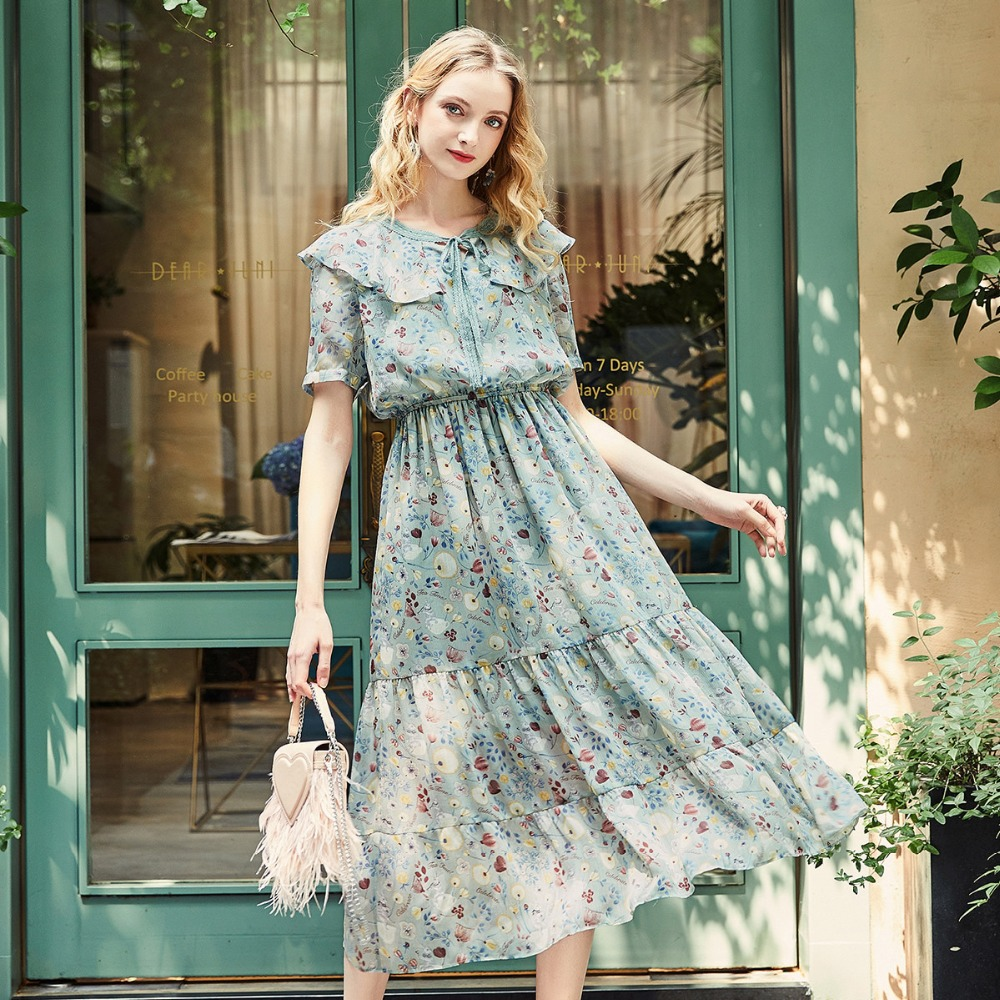 ARTKA 2019 Early Spring and Summer New Women Drawstring Ruffled Lady Elegant Garden Floral Dress LA10686Q