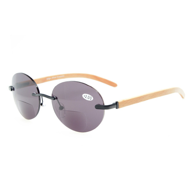 d9edb5cf7568 R1636 Eyekepper Spring Hinges Wood Arms Rimless Round Bifocal Sunglasses + 1.0/1.25/1.5/1.75/2.0/2.25/2.5/2.75/3.0