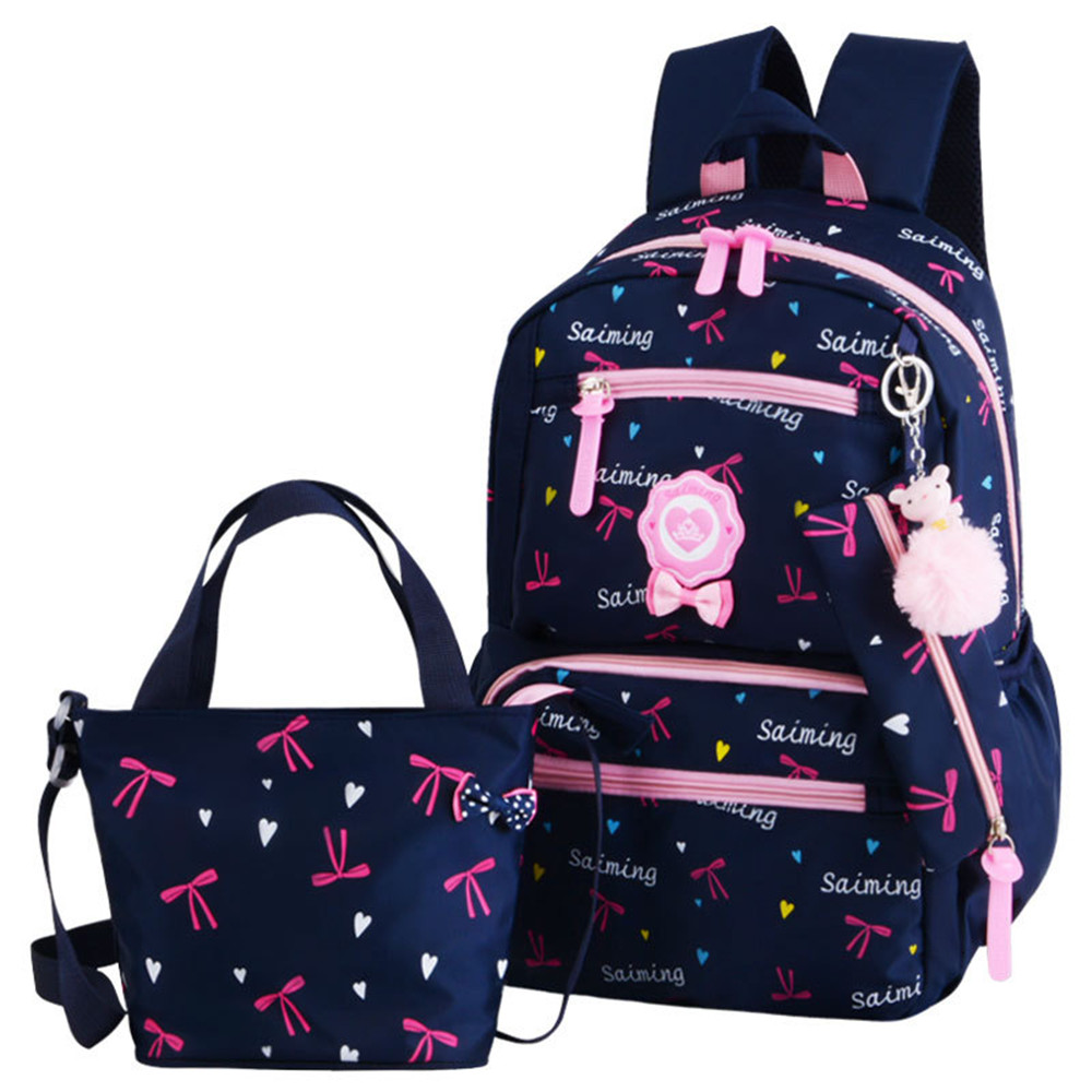 Children School Bags Teenagers Girls Printing Rucksack school Backpacks 3pcs/Set Mochilas kids travel backpack Cute shoulder bag plus size bell sleeve mini lace dress with flounce hem