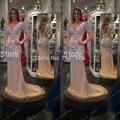 Cristal de lujo Del Vestido de Noche 2015 V Cuello Bling Sirena Vestidos de Baile Abendkleider Crystal Rhinestone de Manga Larga Vestidos Formales