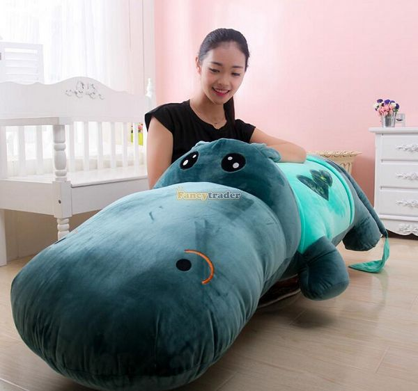 Fancytrader Super Huge 71'' / 180cm Plush Stuffed Giant Hippo, 6 Colors Available, Nice Gift for Babies, Free Shipping FT50141 fancytrader 2015 new 31 80cm giant stuffed plush lavender purple hippo toy nice gift for kids free shipping ft50367