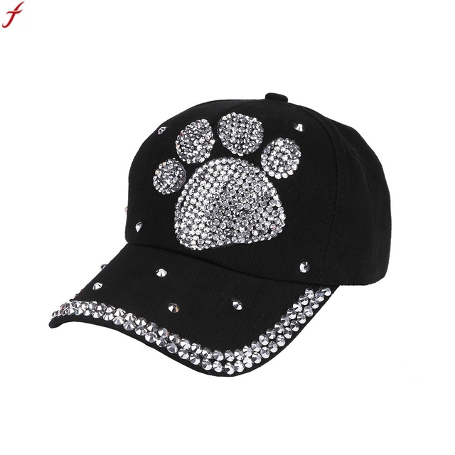 9f923be8164b2 2018 Women Hat Cap Men Casual Baseball Cap Rhinestone Paw Shaped Boy Girls Snapback  Hat Summer Hat Casquette