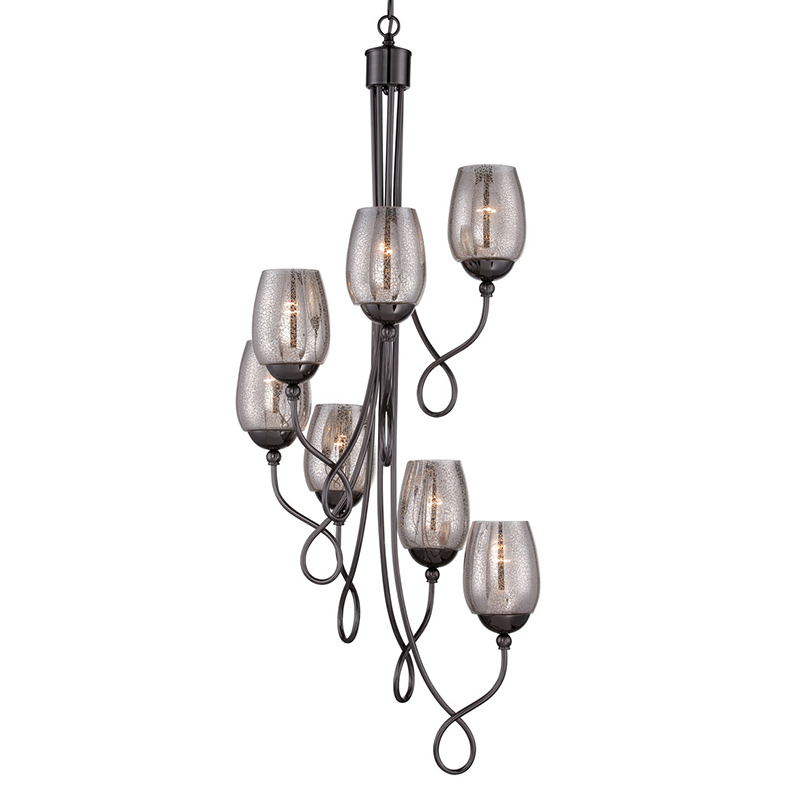 modern simple American Art black iron pendant light glass cup for staircase dinging room bar hanging lighting E27