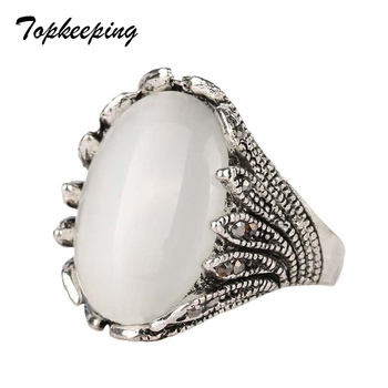 White AAA+ Resin Stone Classic Men Jewelry Ring Rock Punk Style Retro Ring Women Fashion Ring Anillo Sales image