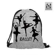 Ballet Girl Drawstring Backpack Silver And Gold Background Printed Fashion Polyester Bags For School Pouch Backpacks(China)
