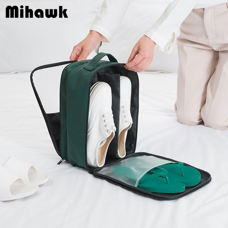 Mihawk PU Travel Shoes Bag Women's Men Waterproof Packing Cube Portable Clothes Socks Luggage Sorting Pouch Trip Dust Tote Stuff