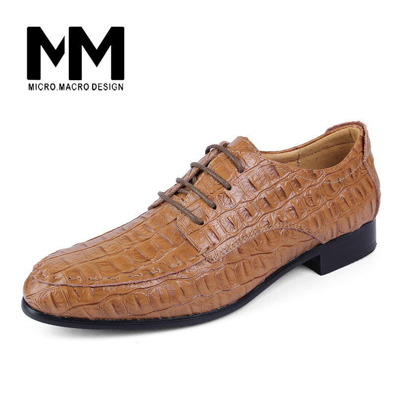 MICRO.MACRO  Genuine Leather Men Shoes Crocodile Pattern Hand-made Casual Flats Men Business Oxfords Plus size 38-50 QCL-1563 leather casual shoes zapatillas hombre casual sapatos business shoes oxford flats hand made man shoe free shipping sv comfort