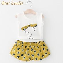 Bear Leader New Summer Casual Children Sets Flowers Blue T-shirt+  Pants