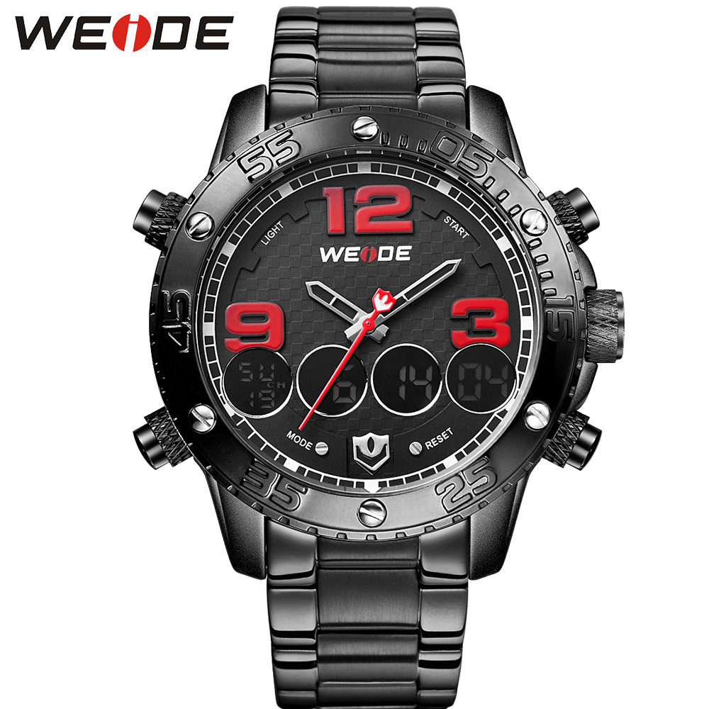 ФОТО WEIDE Men Watches Luxury Brand Stainless Steel Watchband Red Color Alarm Clock Waterproof Casual Quartz Watch Relogio Masculino