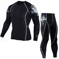 Mens Compression MMA Long Sleeves T Shirt And Leggings 2pcs Set 3d Printed Gyms Fitness Bodybuilding