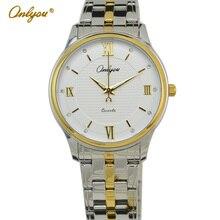Onlyou Marca de Lujo Mujer Hombre de Diamante Reloj de Cuarzo de Oro Correa de Acero Inoxidable Con Fecha Display Reloj de Vestir de Negocios 81078