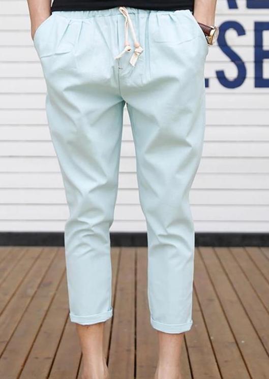 Мужские летние плюс Размеры Повседневное середины лодыжки-длина брюки эластичный пояс свободные брюки карандаш Для мужчин Лен дышащий карандаш капри - Цвет: 4