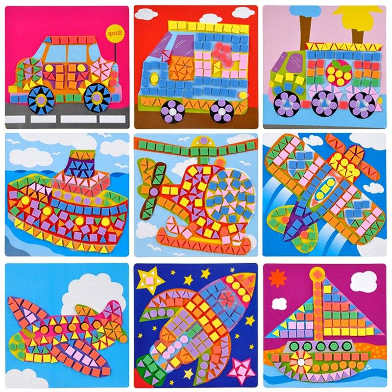 Hot-Creative-3D-Mosaics-Sticker-Game-AnimalsTransport-Arts-Craft-Puzzle-for-Kids-EVA-Educational-Toy-DIY-Model-Building-Toys-5