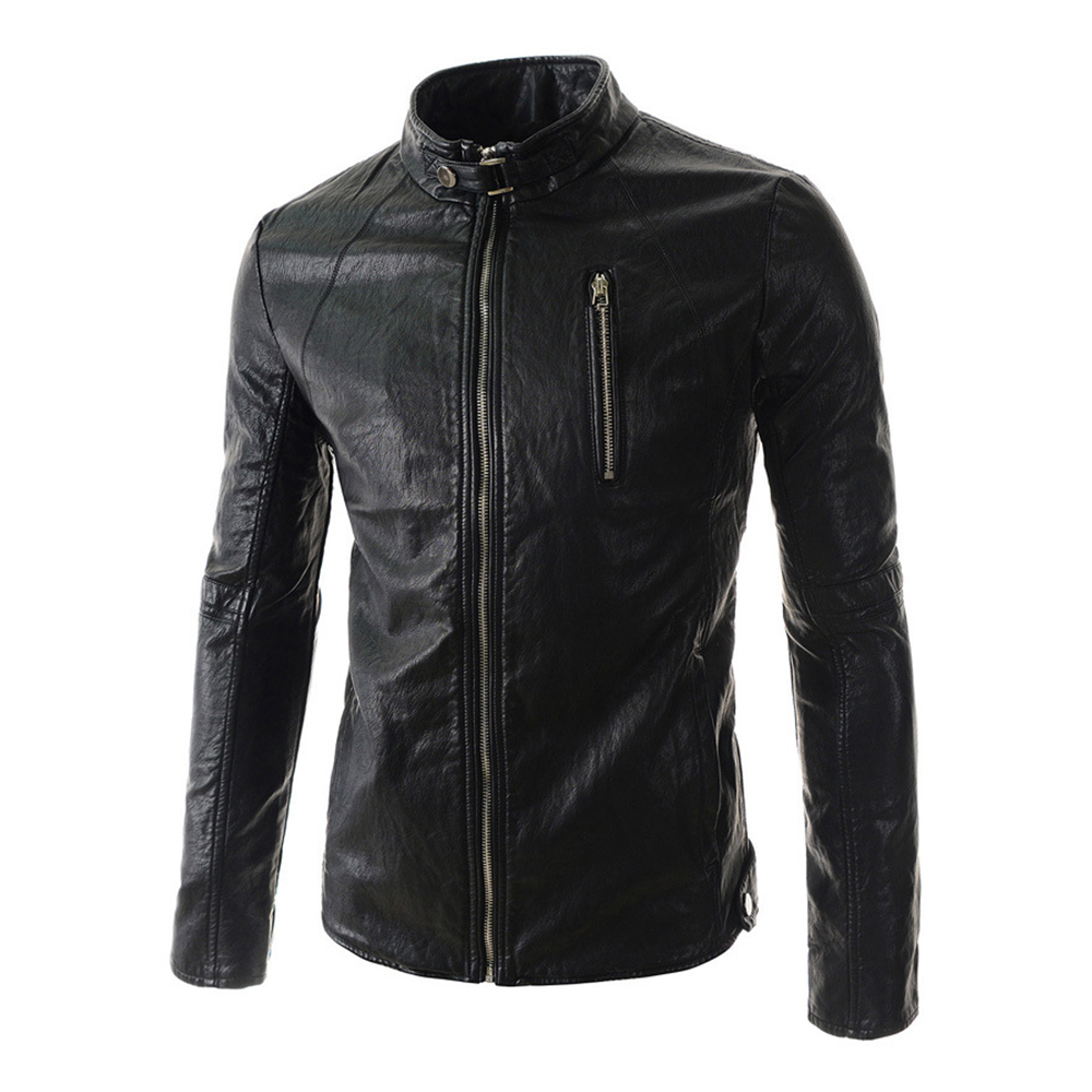 Herobiker Motorcycle Jackets Men Vintage Retro PU Leather Jacket Racing Stand Collar Biker Punk Windproof Motorbike Moto Jacket stand collar zip up argyle pu leather spliced design jacket