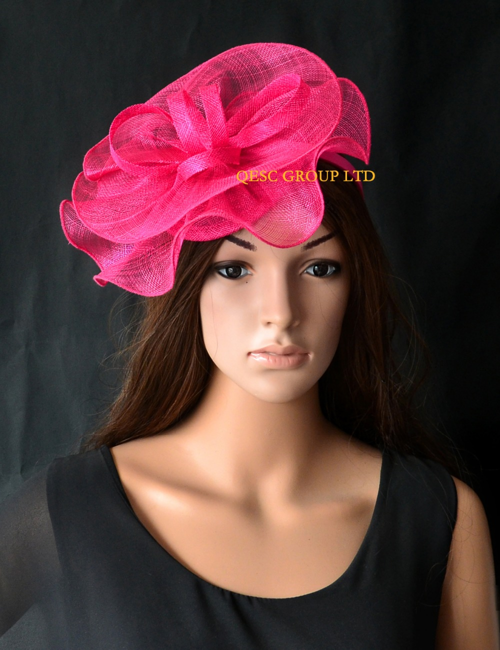 NEW Wholesale Elegant Fuchsia hot pink Sinamay fascinator hat for Melbourne Cup,Ascot Races,kentucky derby,wedding.