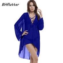 Bhflutter шифоновое платье XXL 3XL 4XL плюс Размеры Для женщин Новинка 2017 года Кружево на шнуровке пикантные пляжное платье женские повседневные летние платья vestidos