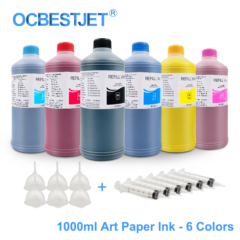 Qualified 1000ml 6 Colors Art Paper Ink Art Pigment Ink For Epson T50 T60 P50 R200 R230 R260 R280 L1300 1390 1400 1410 1500w T1100 T1110 Printer Supplies Computer & Office