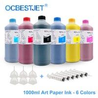 1000ML 6 Colors Art Paper Ink Art Pigment Ink For Epson T50 T60 P50 R200 R230 R260 R280 L1300 1390 1400 1410 1500W T1100 T1110