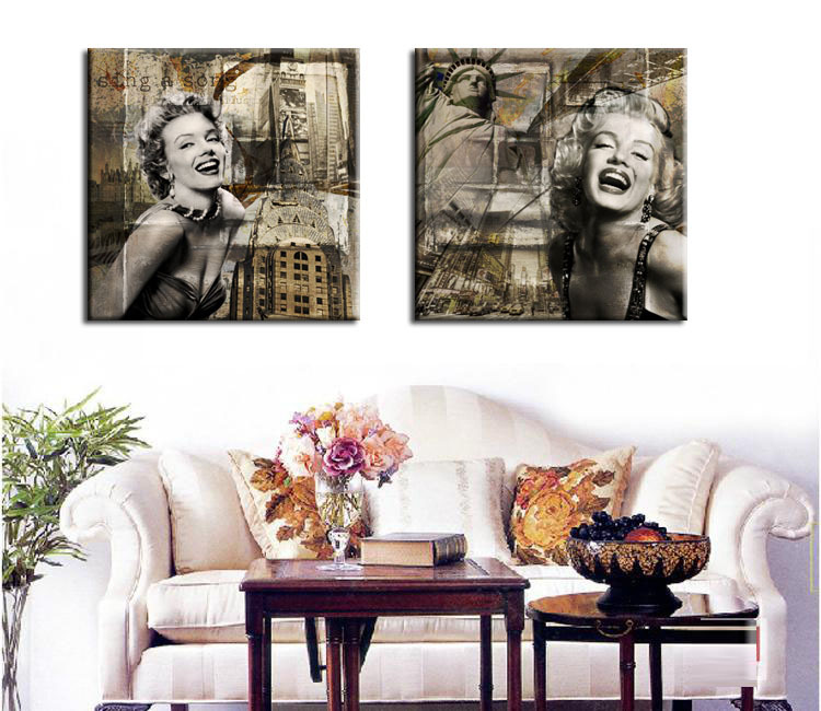 Exceptional 2 Panels Wall Painting Marilyn Monroe Home Decor Canvas Prints Art Pictures  Set On The Walls For Living Room Bedroom Decoration In Painting U0026  Calligraphy ...