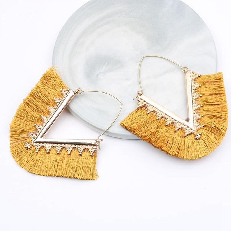 V Shape Bohemia Tassel Hoop Earrings For Women Vintage Golden Statement Jewelry Triangle Colorful Charm Earrings female Muszelki in Hoop Earrings from Jewelry Accessories