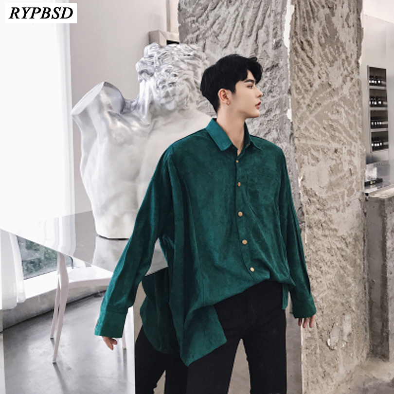 2019 New Thick College Style Simple Turn Down Collar Design Shirts Men Fashion Casual Loose Oversize Hip Hop Men Shirts M-XXL