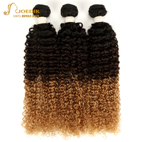 Joedir Hair Three Tone Ombre Brazilian Hair Weave Bundles Kinky Curly 1/3/4 Pieces Non Remy Human Hair Extensions Free Shipping