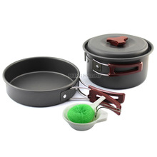 Hard anodic oxidation camping cookware set barbecue pot set outdoor portable jacketed kettle
