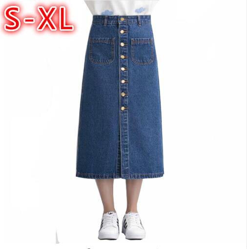 Blue Solo Casual Blue Breasted Para Botones Las Jeans Faldas Largo Denim Azul Claro Oscuro Alta Slim Cintura Mujeres light Preppy Dark Estilo 1vnwq5gn