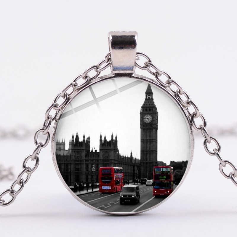 SONGDA nouvelle annonce londres Bus à deux étages dessin animé collier londres ville vie rouge voyage Bus Photo verre dôme temps gemme bijoux