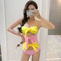 2018 Newest Sexy Bandage One Piece Swimsuit Summer Cut Out Monokini Halter Push Up Padded Women