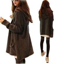 Новинка 2017 года модные женские туфли Осень Лидер продаж Кардиган женские длинный рукав длинный свободный вязаный свитер с капюшоном для молодых леди SW492