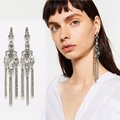 2016 Hot sale for women star quality crystal tassel stud earring trendy statement fashion jewelry gift nice brinco free CNpost