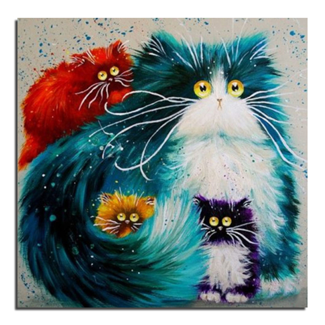 Color Painting aliexpress : buy color cat 25x25 cross stitch diy diamond