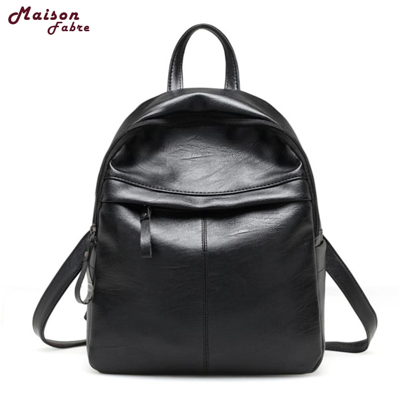 Maison Fabre Fashion Backpack Black Color Women Fashion Leather Simple School Travel Bag 2017 Hot Dropshipping Ob23