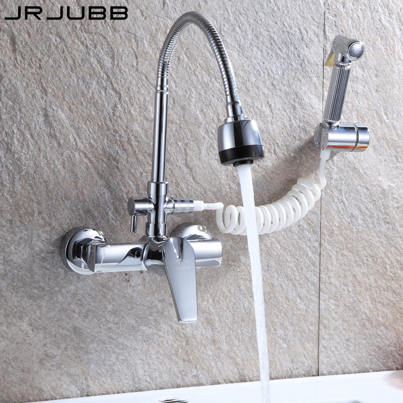 US $67.56 21% OFF|Wall Faucet Kitchen Faucet Mixer Three way Chrome Brass  kitchen tap dual sprayers kitchen sink tap-in Kitchen Faucets from Home ...
