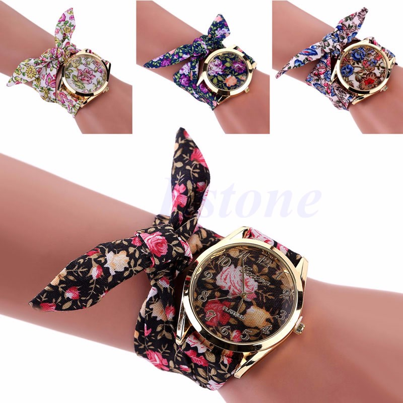 Women Lady Watches Flower Cloth Floral Bracelet Dress Bangle Quartz Wrist Watch