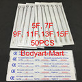 50pcs Sterilize Tattoo Needles Flat Shader 5F 7F 9F 11F 13F 15F Mixed Assorted For Tattoo Tube Tip Supply TNFS-50#