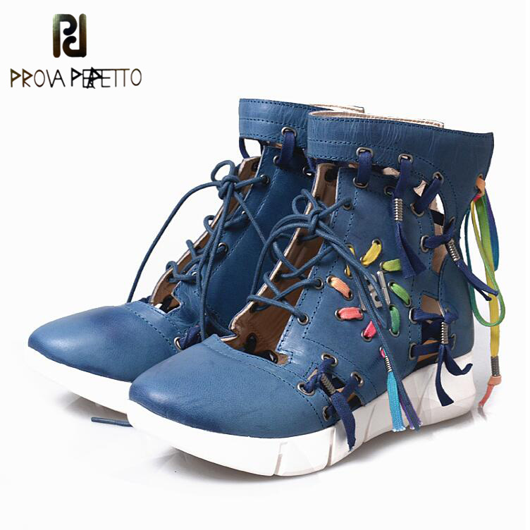 Prova Perfetto Breathable Hollow Out Women Casual Wedge Shoes Lace Up Shallow Feminino Espadrilles Sneakers Summer Boots summer women shoes casual cutouts lace canvas shoes hollow floral breathable platform flat shoe sapato feminino lace sandals