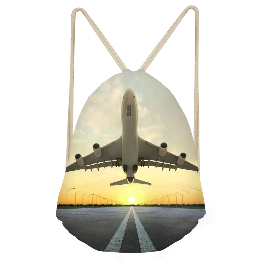 Fashion Scenery Pattern Women Men Drawstrings Bags 3D Aircraft Printed Boys Girls Shoes Beach Bag Softback BackpacksSumka